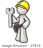 #37512 Clip Art Graphic Of A White Guy Character Holding A Spanner Tool