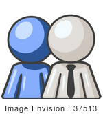#37513 Clip Art Graphic Of A White Guy Character With A Blue Employee