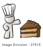 #37515 Clip Art Graphic Of A White Guy Character Chef With Chocolate Cake