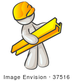 #37516 Clip Art Graphic Of A White Guy Character Carrying A Beam