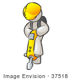 #37518 Clip Art Graphic Of A White Guy Character Operating A Jack Hammer