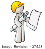 #37523 Clip Art Graphic Of A White Guy Character Holding Blueprints