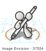 #37524 Clip Art Graphic Of A White Guy Character Drawing A Circle On Graph Paper