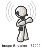 #37525 Clip Art Graphic Of A White Guy Character Wearing A Headset With Signals