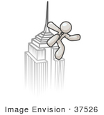 #37526 Clip Art Graphic of a White Guy Character on a Skyscraper by Jester Arts