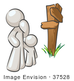 #37528 Clip Art Graphic Of A White Guy Character And Child At A Crossroads