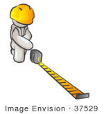 #37529 Clip Art Graphic Of A White Guy Character Measuring