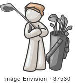 #37530 Clip Art Graphic Of A White Guy Character Golfing