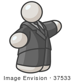#37533 Clip Art Graphic of a Fat White Guy Character Pointing by Jester Arts
