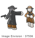 #37536 Clip Art Graphic Of White Guy Characters Dueling