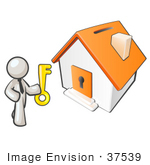 #37539 Clip Art Graphic Of A White Guy Character Holding The Key To A House