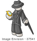 #37541 Clip Art Graphic Of A White Guy Character Looking At A Pocket Watch