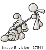 #37544 Clip Art Graphic Of A White Guy Character Walking A Dog