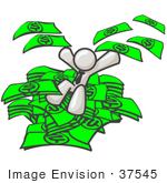 #37545 Clip Art Graphic Of A White Guy Character Jumping In A Pile Of Cash