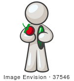 #37546 Clip Art Graphic Of A White Guy Character Holding Veggies