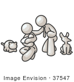 #37547 Clip Art Graphic Of A White Guy Character Family With Pets