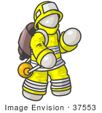 #37553 Clip Art Graphic Of A White Guy Character Fireman