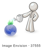 #37555 Clip Art Graphic Of A White Guy Character Watering Earth