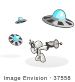 #37558 Clip Art Graphic of a White Guy Character Fighting UFOs by Jester Arts