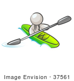#37561 Clip Art Graphic Of A White Guy Character Kayaking