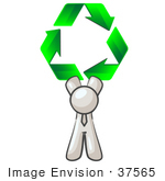 #37565 Clip Art Graphic of a White Guy Character Holding Recycle Arrows by Jester Arts