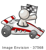 #37568 Clip Art Graphic Of A White Guy Character Racing A Car