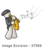 #37569 Clip Art Graphic Of A White Guy Character Playing A Sax