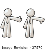 #37570 Clip Art Graphic of a White Guy Character Giving the Tumbs up and Down by Jester Arts