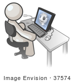 #37574 Clip Art Graphic Of A White Guy Character Using A Computer