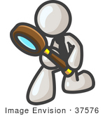 #37576 Clip Art Graphic Of A White Guy Character Kneeling And Using A Magnifying Glass
