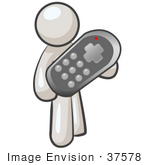 #37578 Clip Art Graphic Of A White Guy Character Holding A Remote Control
