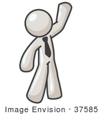 #37585 Clip Art Graphic Of A White Guy Character Waving