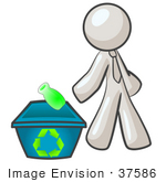 #37586 Clip Art Graphic Of A White Guy Character Recycling