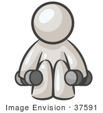 #37591 Clip Art Graphic Of A White Guy Character Exercising With Dumbbells In A Gym