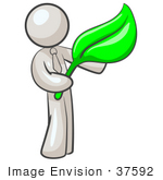 #37592 Clip Art Graphic Of A White Guy Character Holding A Green Leaf