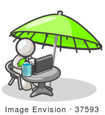 #37593 Clip Art Graphic Of A White Guy Character Working On A Laptop Under An Umbrella