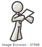 #37596 Clip Art Graphic Of A White Guy Character Giving A Speech