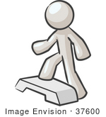 #37600 Clip Art Graphic Of A White Guy Character Doing Step Exercises