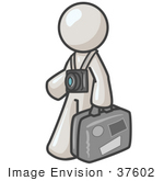#37602 Clip Art Graphic Of A White Guy Character Tourist With A Camera And Luggage