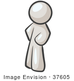 #37605 Clip Art Graphic Of A White Guy Character Standing With His Hands On His Hips