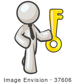 #37606 Clip Art Graphic Of A White Guy Character Holding A Key