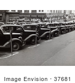 #37681 Stock Photo Of Vintage Cars Lined Up In Parking Spots With Parking Meters On The Sidewalk In Omaha Nebraska 1938