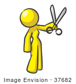 #37682 Clip Art Graphic of a Yellow Lady Character Holding Scissors by Jester Arts