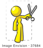 #37684 Clip Art Graphic Of A Yellow Lady Character Cutting Coupons