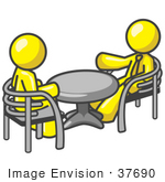 #37690 Clip Art Graphic Of Yellow Guy Characters Talking At A Table