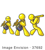 #37692 Clip Art Graphic Of Yellow Guy Characters Playing Flutes And Drums In A Band