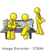 #37694 Clip Art Graphic Of Yellow Guy Characters Waiting At A Bus Stop