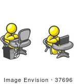#37696 Clip Art Graphic Of Yellow Guy Characters Working On Laptops And Desktops