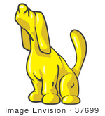 #37699 Clip Art Graphic Of A Yellow Dog Howling Or Sniffing