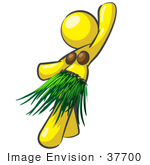 #37700 Clip Art Graphic Of A Yellow Lady Character Hula Dancing by Jester Arts